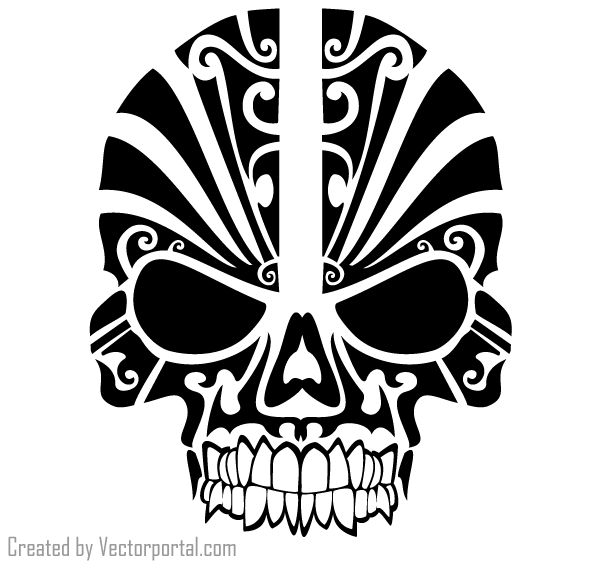 040 Vector Tribal Skull Tattoo Design.png (600×565) | Skull | Pinterest - Tribal Skull Tattoos, Transparent background PNG HD thumbnail