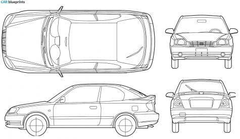 2005 Hyundai Accent 3 Door Hatchback Blueprint - Accent Auto Vector, Transparent background PNG HD thumbnail