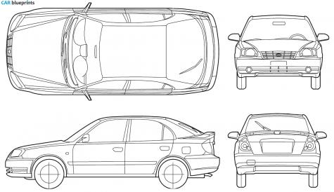 2005 Hyundai Accent 5 Door Hatchback Blueprint - Accent Auto Vector, Transparent background PNG HD thumbnail