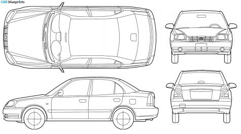 2005 Hyundai Accent Sedan Blueprint - Accent Auto Vector, Transparent background PNG HD thumbnail