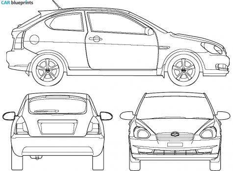 2007 Hyundai Accent Hatchback Blueprint - Accent Auto Vector, Transparent background PNG HD thumbnail