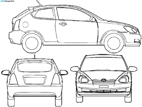 2008 Hyundai Accent Iii Mc Hatchback Blueprint - Accent Auto Vector, Transparent background PNG HD thumbnail