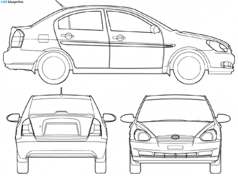 2008 Hyundai Accent Sedan Blueprint - Accent Auto Vector, Transparent background PNG HD thumbnail