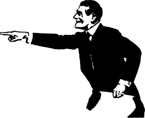 Parmağıyla Işaret Eden Takım Elbiseli Adam Vektör Çizim - Afam Vector, Transparent background PNG HD thumbnail