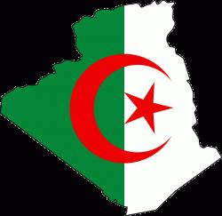 Algeria Flag Map   Mapsof.net Map - Algeria, Transparent background PNG HD thumbnail
