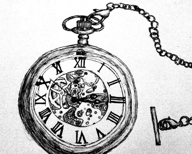 Alice In Wonderland Pocket Watch Png - Pocket Watch Pen Drawing By Wayoutofproportion.deviantart Pluspng.com On @deviantart, Transparent background PNG HD thumbnail