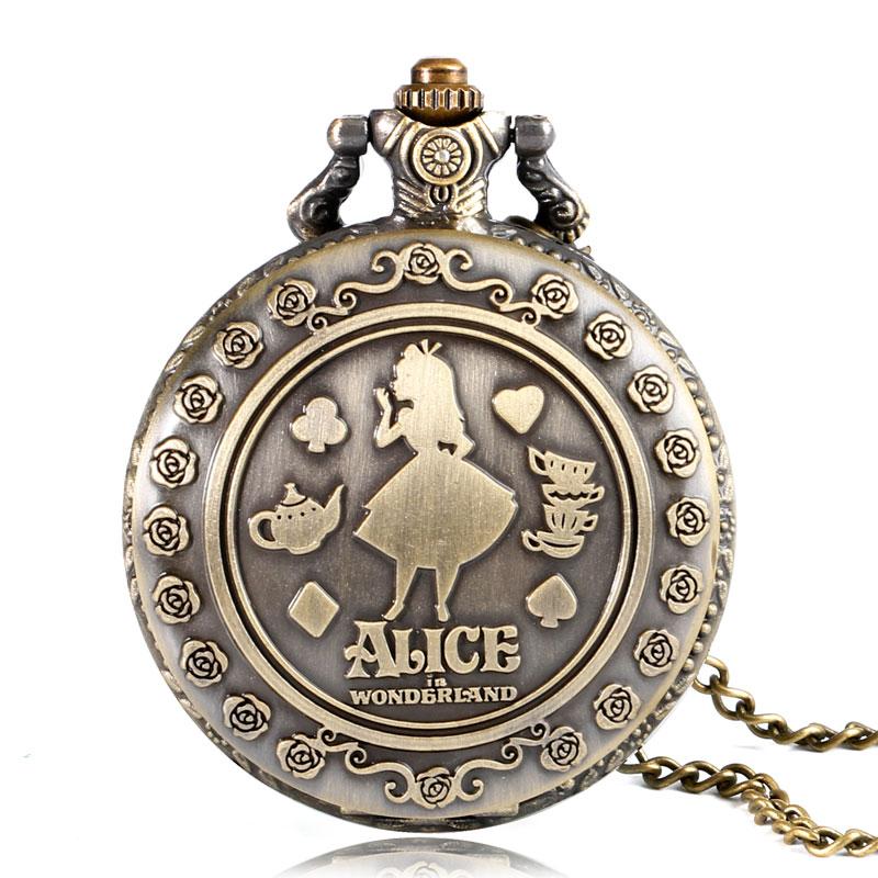 Alice In Wonderland Pocket Watch Png - Vintage Cute Alice In Wonderland Rabbit Flower Pocket Watch Necklace Quartz Women Ladies Bronze Pendant Retro, Transparent background PNG HD thumbnail