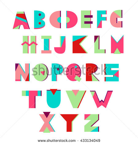 Colorful Creative Alphabet. Geometric Letters. Summer Alphabet. Vector. Memphis Style. - Alphabet Inc Vector, Transparent background PNG HD thumbnail
