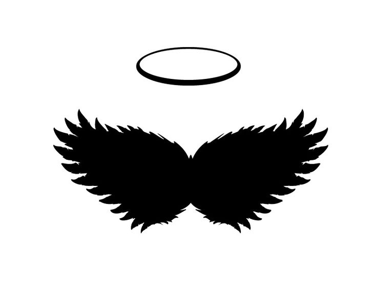 Black Angel Wings And Halo Vector, Png And Jpgs Included   Logo Angel Souvenirs Png - Angel Souvenirs, Transparent background PNG HD thumbnail