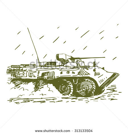 Armoured Personnel Carrier (Apc). Russian Btr. Vector Freehand Pencil Sketch. - Apc Vector, Transparent background PNG HD thumbnail