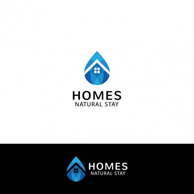 Real Estate Logo In Drop Shape - Aqua Cleaning Vector, Transparent background PNG HD thumbnail