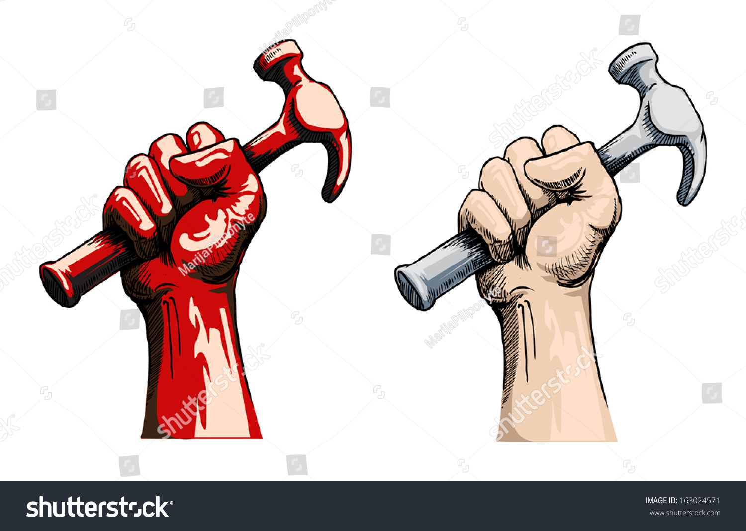 Fist Holding A Hammer, Vector Illustration - Arm And Hammer Vector, Transparent background PNG HD thumbnail