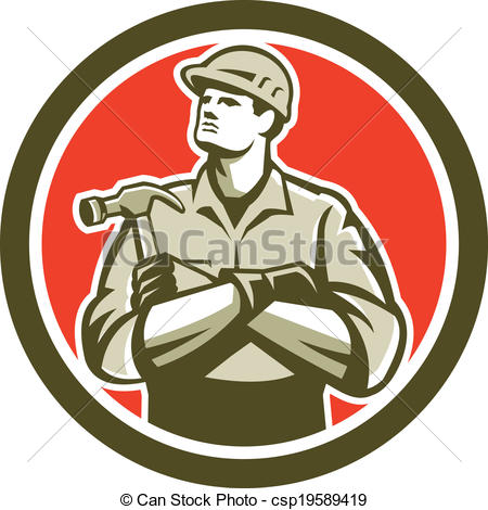 Vector Clip Art Of Builder Carpenter Arms Crossed Hammer Circle - Arm And Hammer Vector, Transparent background PNG HD thumbnail