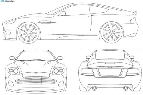 2005 Aston Martin V12 Vanquish S Coupe Blueprint - Aston Martin Auto Vector, Transparent background PNG HD thumbnail