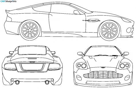 2006 Aston Martin Vanquish V12 Coupe Blueprint - Aston Martin Auto Vector, Transparent background PNG HD thumbnail