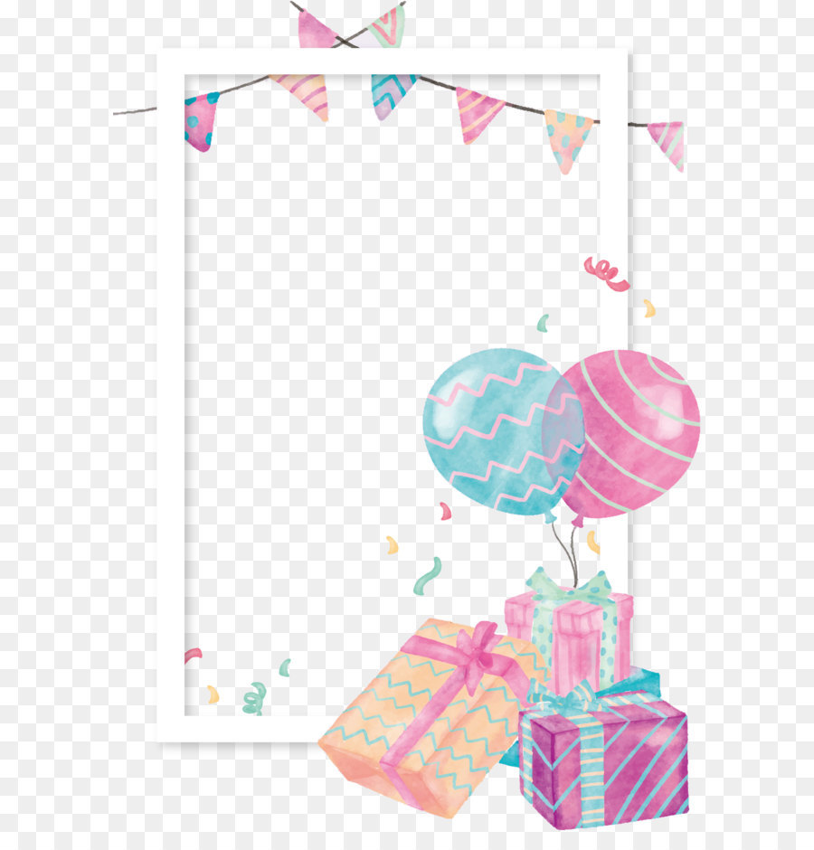 Balloon Gift Clip Art   Watercolor Gift Box Balloon Border - Baby Toys Borders, Transparent background PNG HD thumbnail