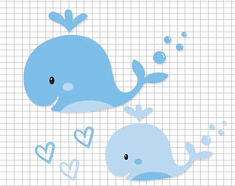 Blue Whales  Digital Clip Art, Vector Eps File, Ai And Png / Whales - Baby Whale, Transparent background PNG HD thumbnail