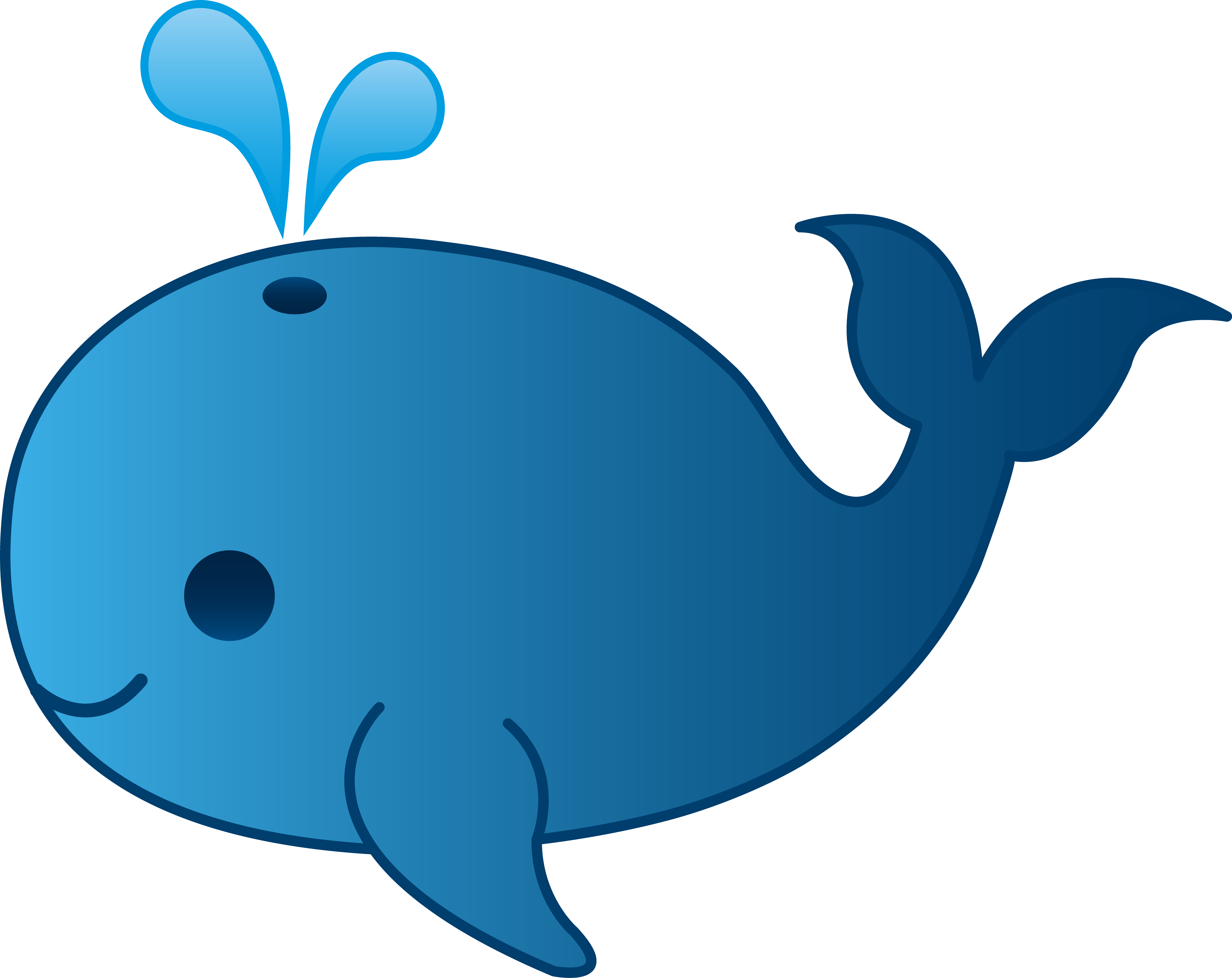 My Free Clip Art Of A Little Blue Whale - Baby Whale, Transparent background PNG HD thumbnail