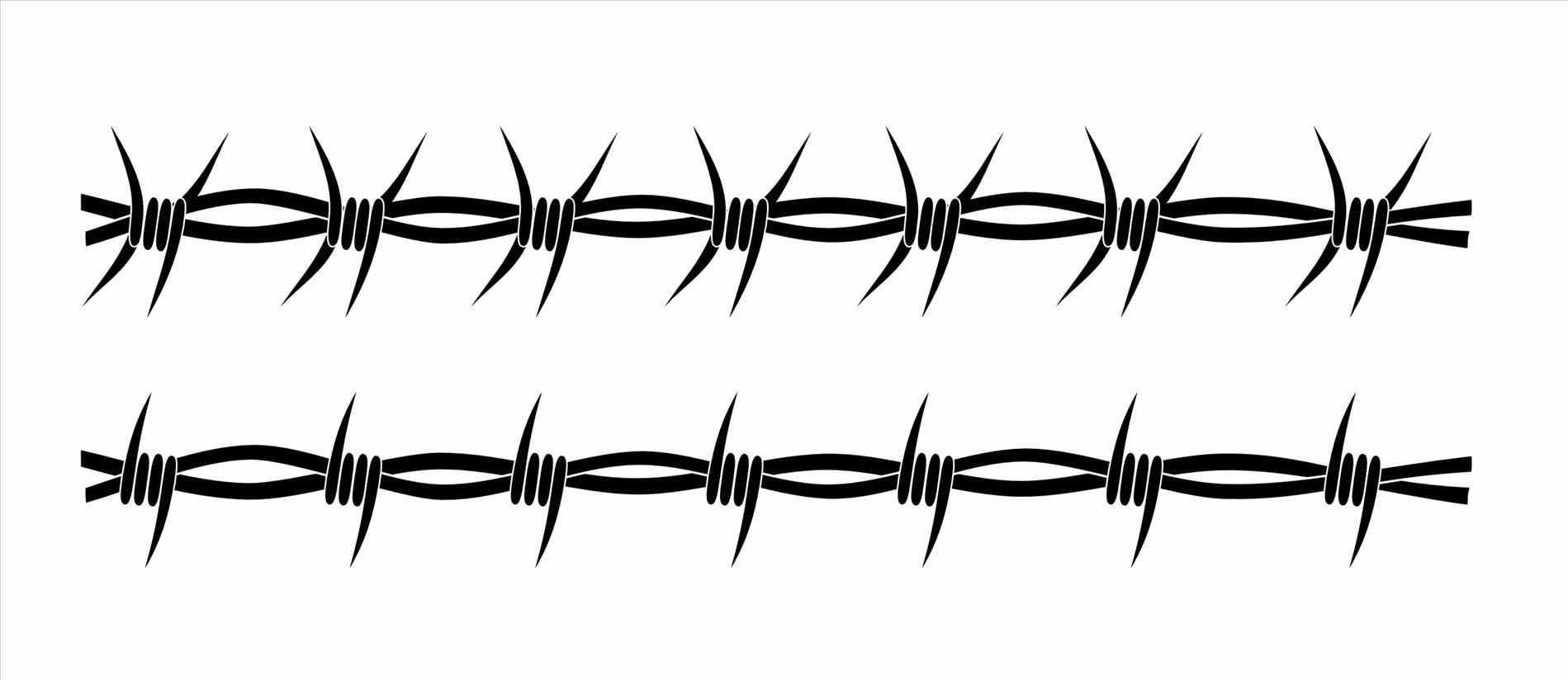 Barbed Wire Collection Fence Png M Vector Silhouette Graphic Depicting Chain Link Stock Vector Barbed Wire - Barbed Wire, Transparent background PNG HD thumbnail