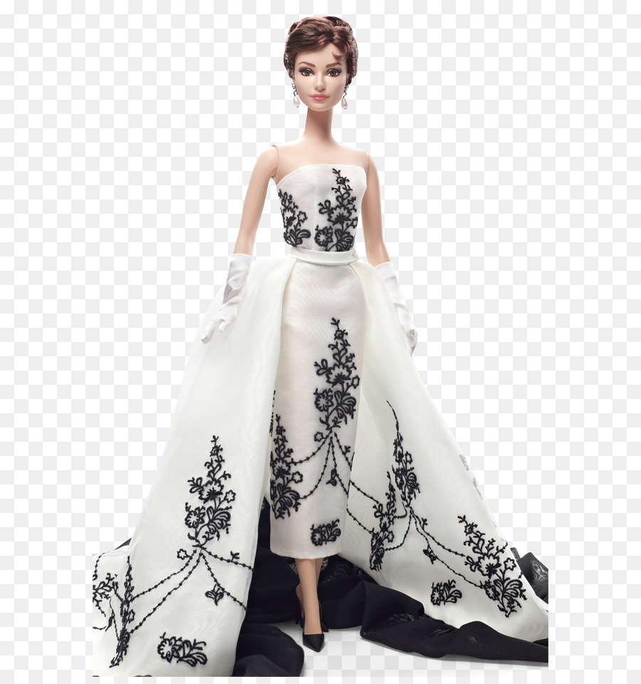 Barbie Doll Black Givenchy Dress Of Audrey Hepburn Toy Fashion   White Pearl Chain - Barbie Doll Black And White, Transparent background PNG HD thumbnail