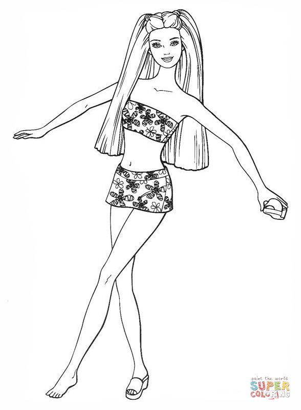 Barbie In A Swimsuit - Barbie Doll Black And White, Transparent background PNG HD thumbnail