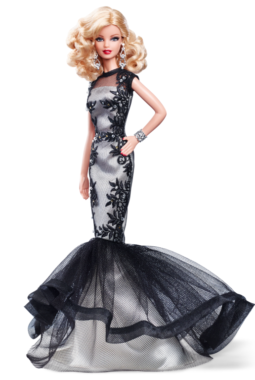 Classic Evening Gown Barbie Doll - Barbie Doll Black And White, Transparent background PNG HD thumbnail