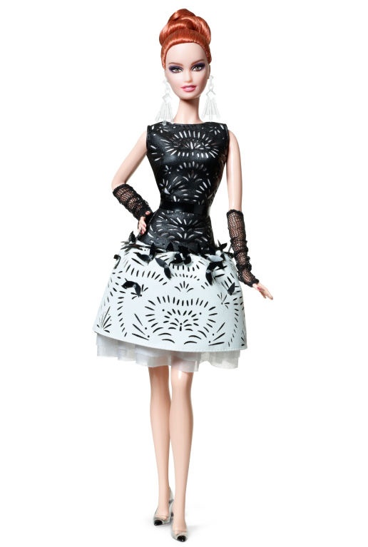 Laser Leatherette Dress Barbie Doll - Barbie Doll Black And White, Transparent background PNG HD thumbnail