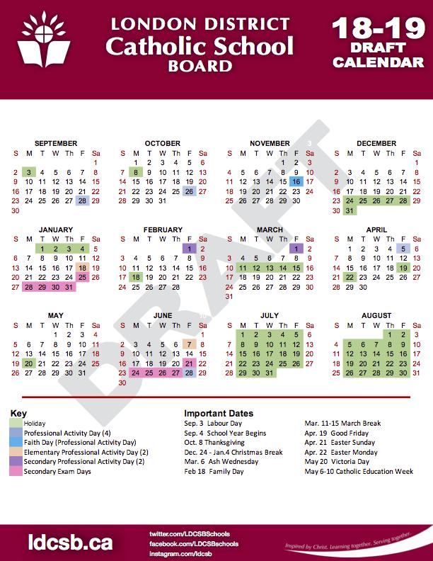 18 19 Ldcsb Draft Calendar.png - Beginning Of School Year, Transparent background PNG HD thumbnail