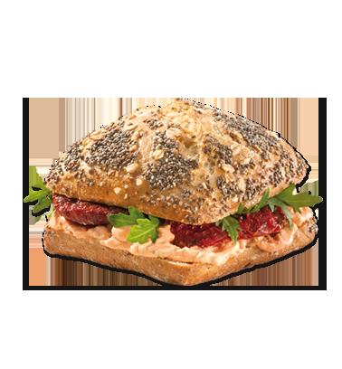Chia Brötchen Tomate Vegan - Belegtes Brot, Transparent background PNG HD thumbnail
