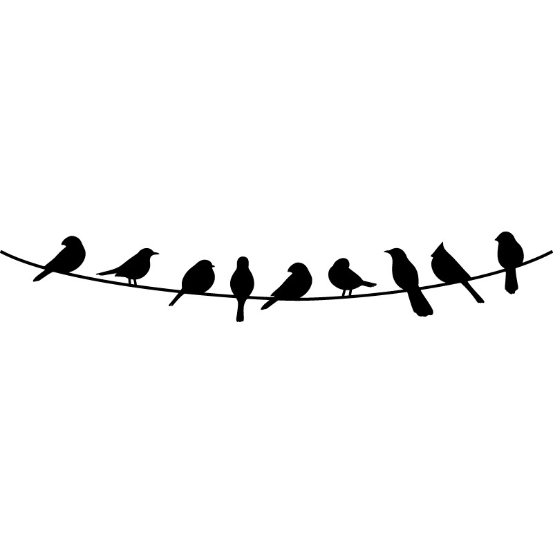 Birds On A Wire Wall Decal 01 - Birds On A Wire, Transparent background PNG HD thumbnail