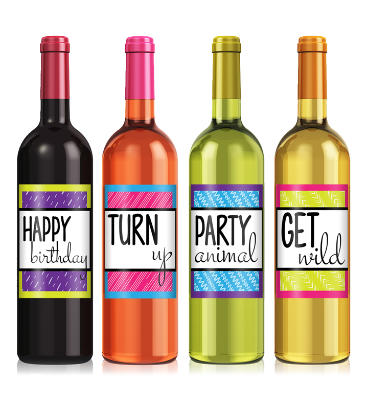 Birthday Wine Png - Colorful Birthday Wine Label Set, Transparent background PNG HD thumbnail