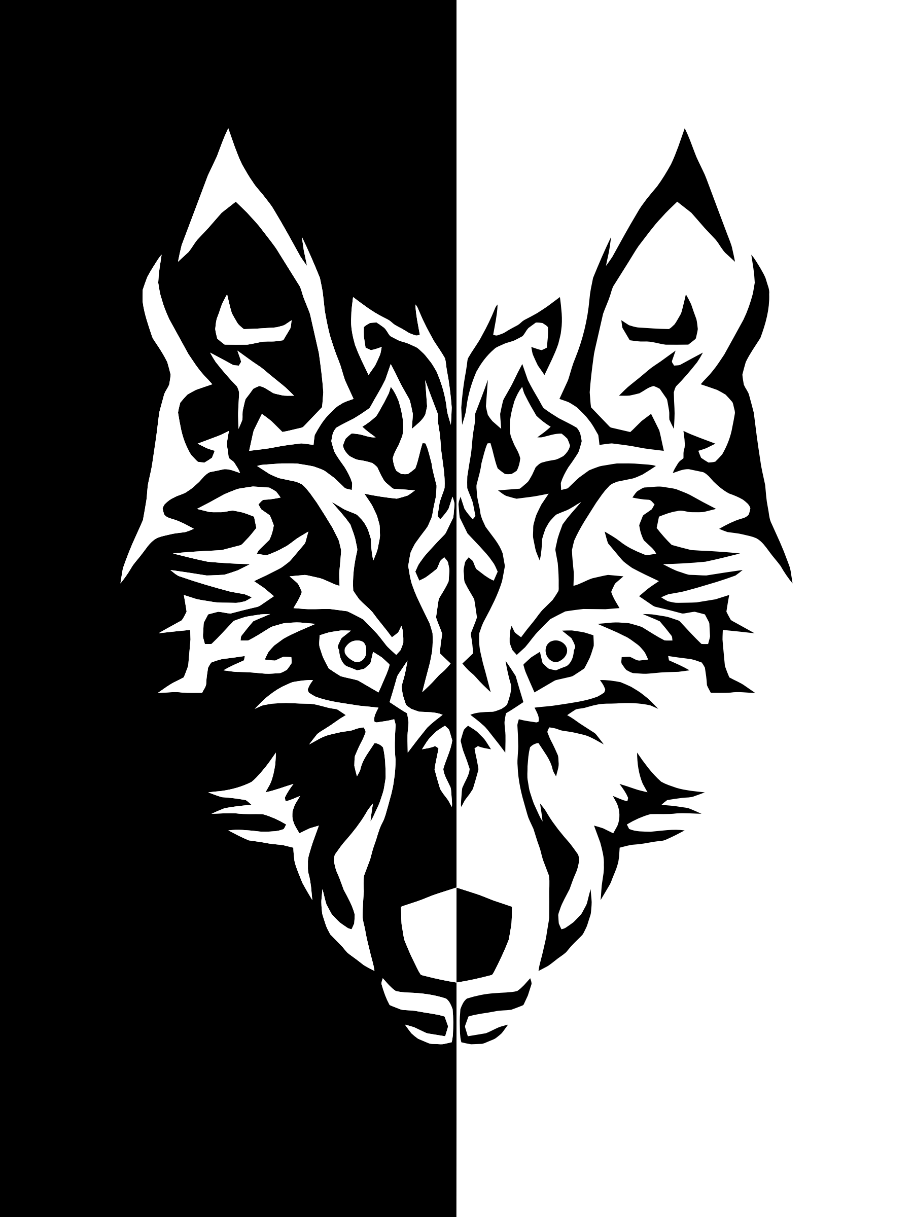 This Free Icons Png Design Of Black And White Tribal Wolf Hdpng.com  - Black And White Wolf, Transparent background PNG HD thumbnail