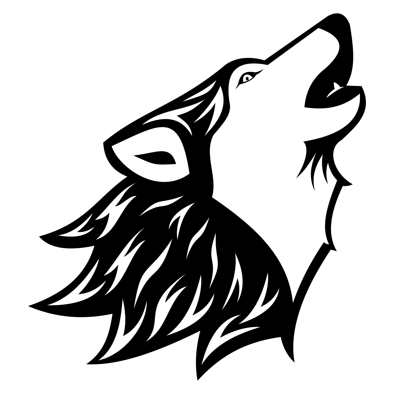 Wolf Black Outline   Yahoo Search Results Yahoo Image Search Results - Black And White Wolf, Transparent background PNG HD thumbnail
