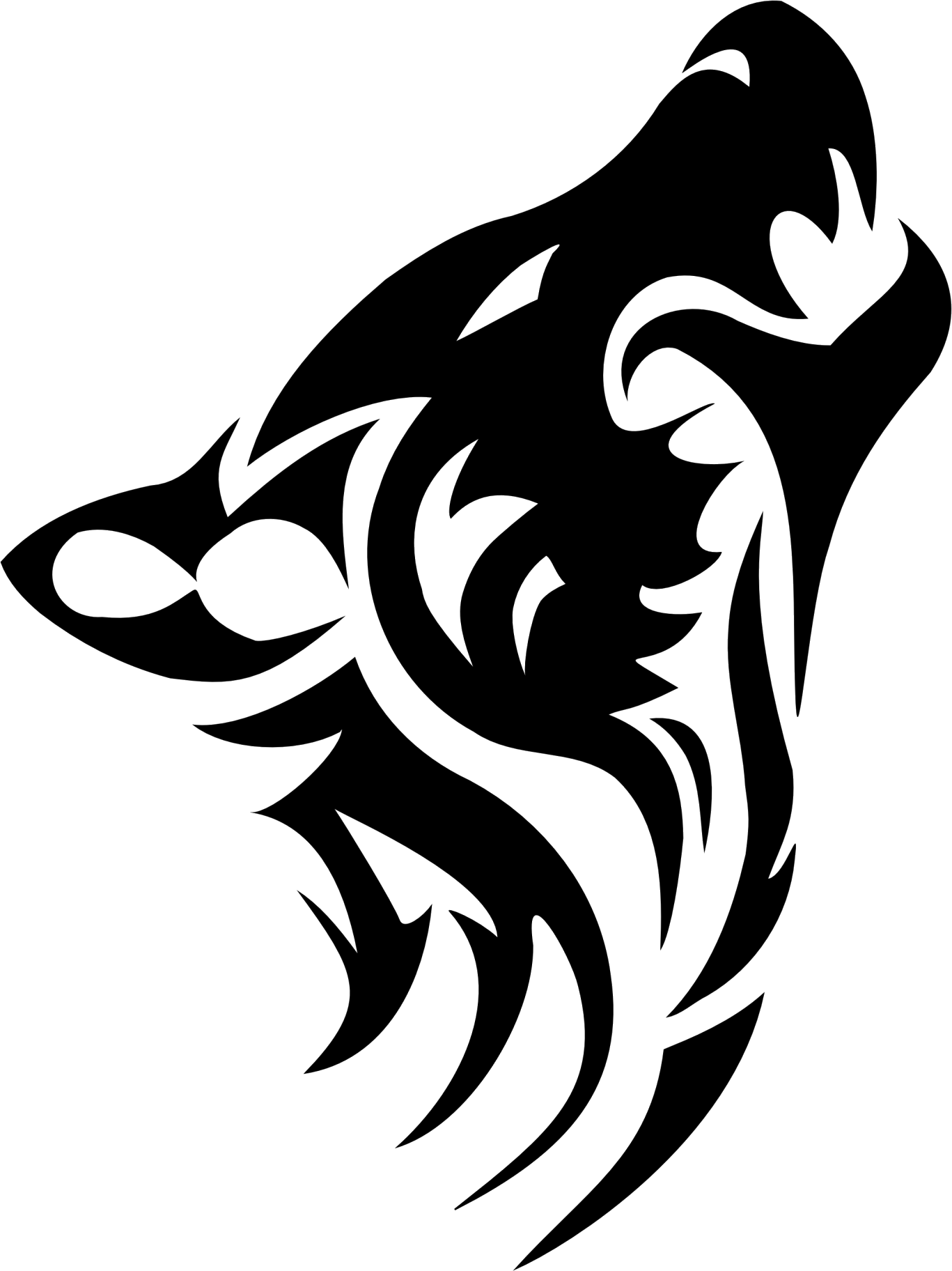 Wolf Tribal Ink (Als Tattoo? - Black And White Wolf, Transparent background PNG HD thumbnail
