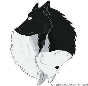 Yin_Yang_Wolves_By_Tsukihowl D6Nc373[1] - Black And White Wolf, Transparent background PNG HD thumbnail