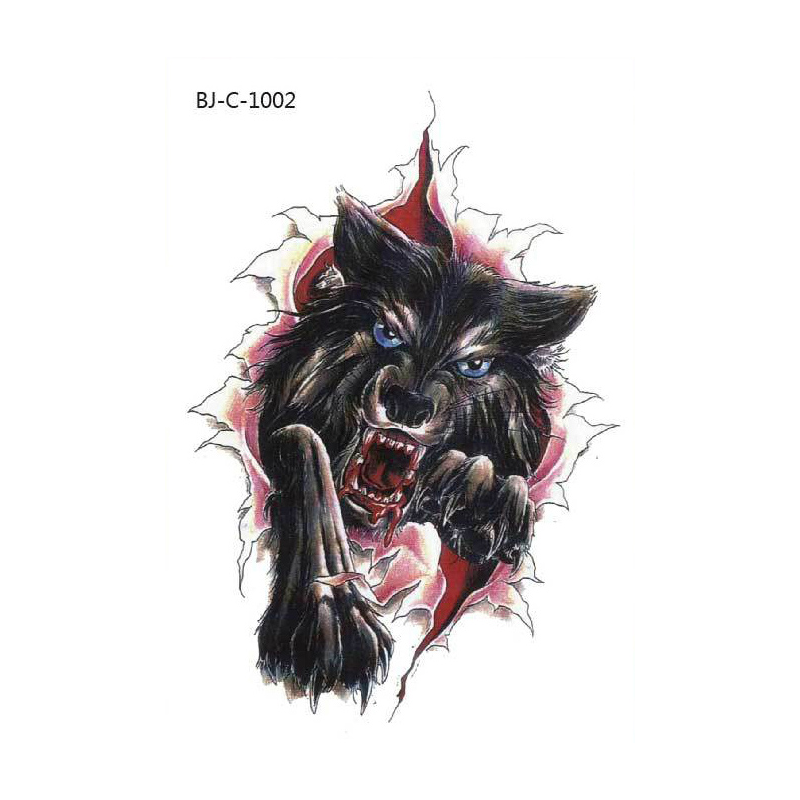 Body Art Temporary Removable Tattoo Stickers Colour Wolf Bjc1002 Sticker Tattoo - Body Art, Transparent background PNG HD thumbnail