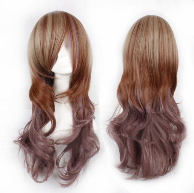 Ladyu0027S Light Brown Dark Brown Long Curls Lolita Wig - Brown Wig, Transparent background PNG HD thumbnail