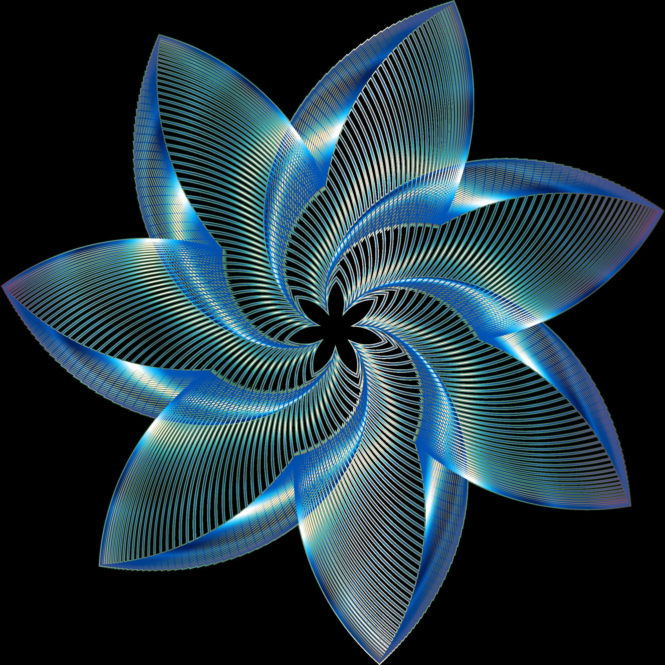 Clipart   Prismatic Flower Line Art 8 No Background - Decorative Line Blue, Transparent background PNG HD thumbnail