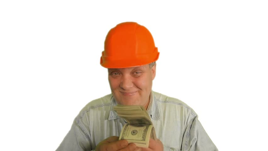 Foreman Holding The Money On The White Background   Hd Stock Video Clip - Construction Worker, Transparent background PNG HD thumbnail