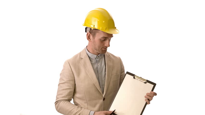 Handsome Construction Worker Wearing A Bright Blazer Holding A Clipboard With A Yellow Safety Helmet On - Construction Worker, Transparent background PNG HD thumbnail