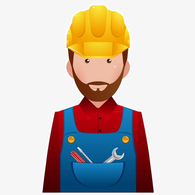 Vector Cartoon Construction Worker Repairman Hd Clips, Vector, Cartoon, Builder Free Png And Vector - Construction Worker, Transparent background PNG HD thumbnail