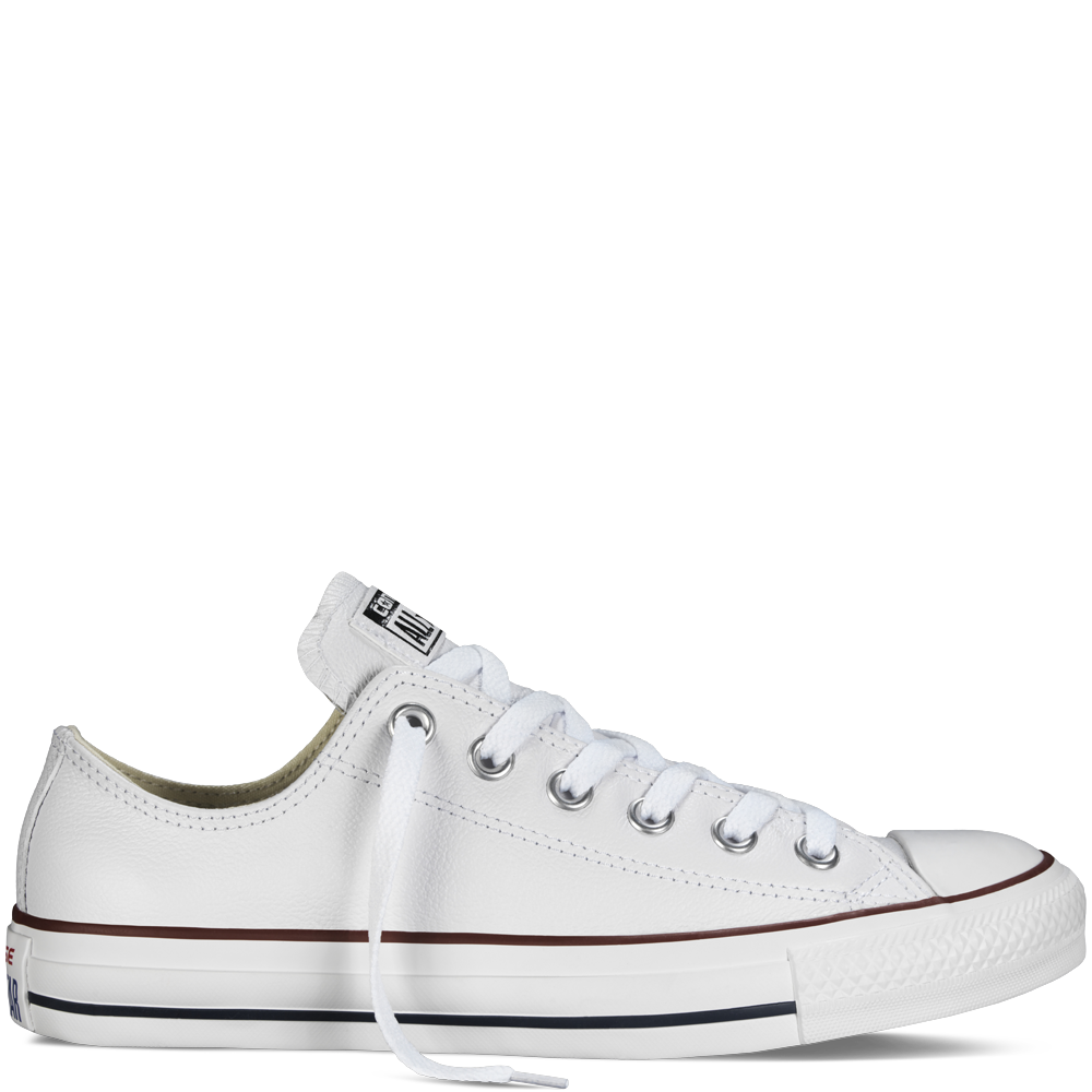 Converse   Chuck Taylor Leather   Low   White - Converse, Transparent background PNG HD thumbnail