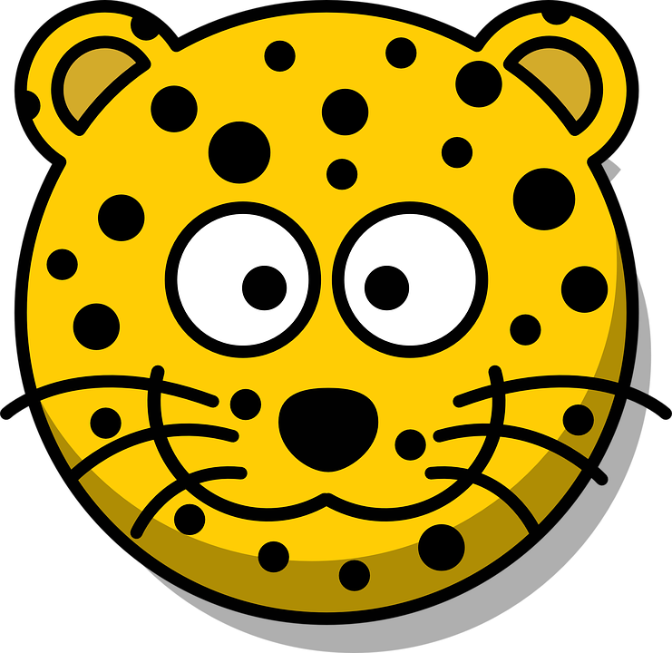 Leopard Head Grin Cute Cartoon Yellow Whiskers - Cute Leopard, Transparent background PNG HD thumbnail