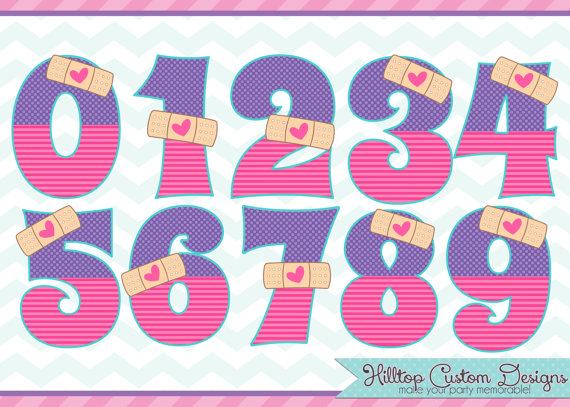 Doc Mcstuffins 2Nd Birthday Png - Doc Mcstuffins Inspired Boo Boo Numbers Clipart In Jpg And Png Formats. Instant Download By, Transparent background PNG HD thumbnail
