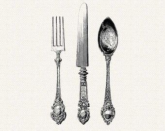 Fancy Fork Png Black And White - Antique Silverware   Knife, Fork, Spoon Cutlery  Printable Vintage Digital Clipart Separate Png Files, Transparent background PNG HD thumbnail