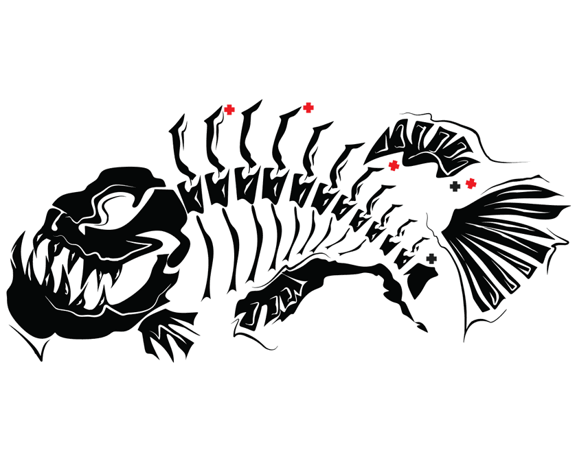 Fish Skeleton Modern Art Wall Tattoo Feature Wall Decal Vinyl Sticker Removable - Fish Tattoos, Transparent background PNG HD thumbnail