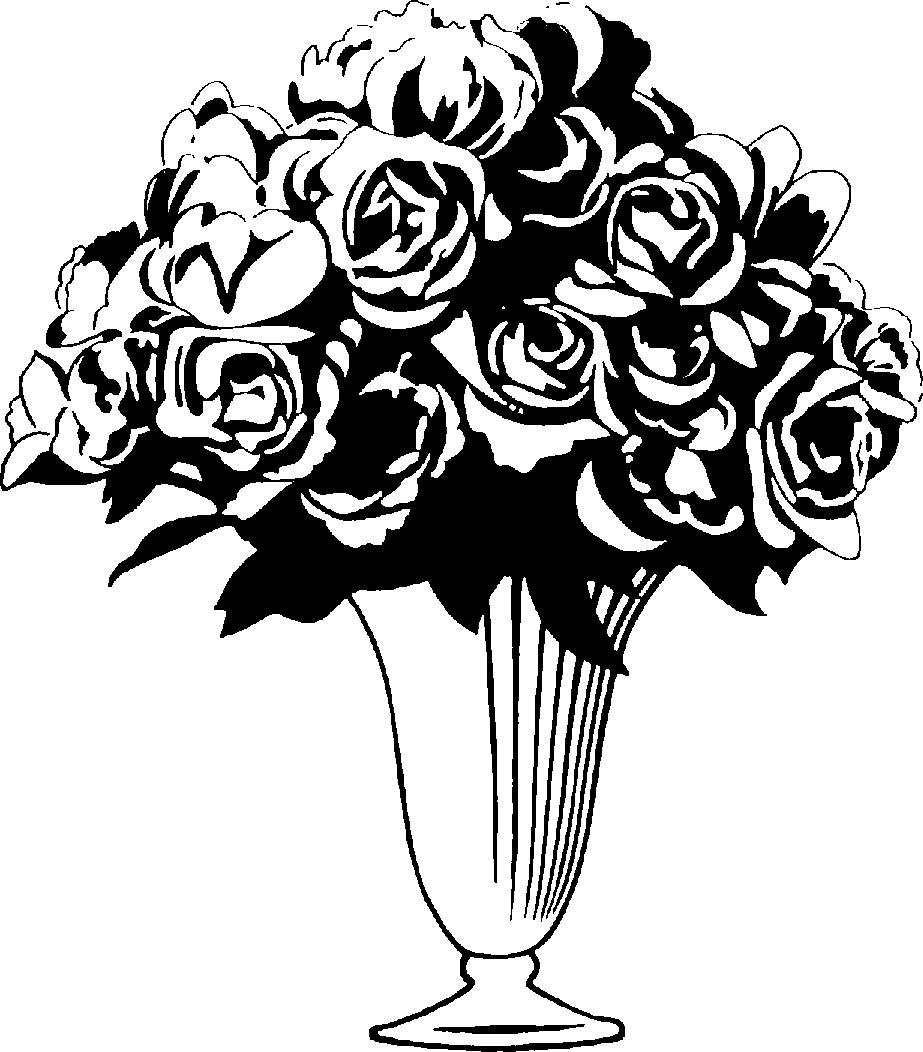 Flower Vase PNG Black And White