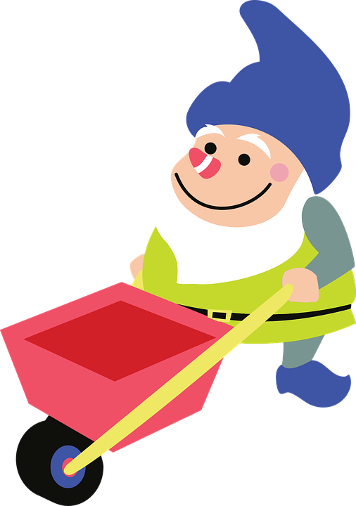 Free Vector Graphic: Gnome, Gardening, Wheelbarrow, Blue   Free Image On Pixabay   310468 - Gnome, Transparent background PNG HD thumbnail