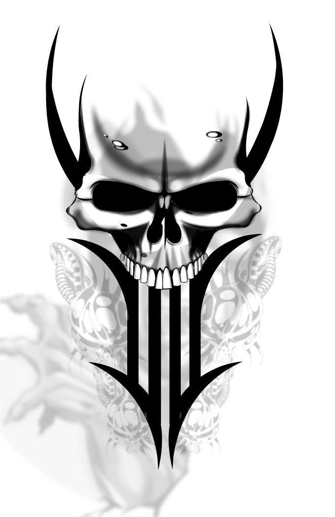 Free Skull Tattoo Designs 2015 ~ Jere Tattoo - Tribal Skull Tattoos, Transparent background PNG HD thumbnail