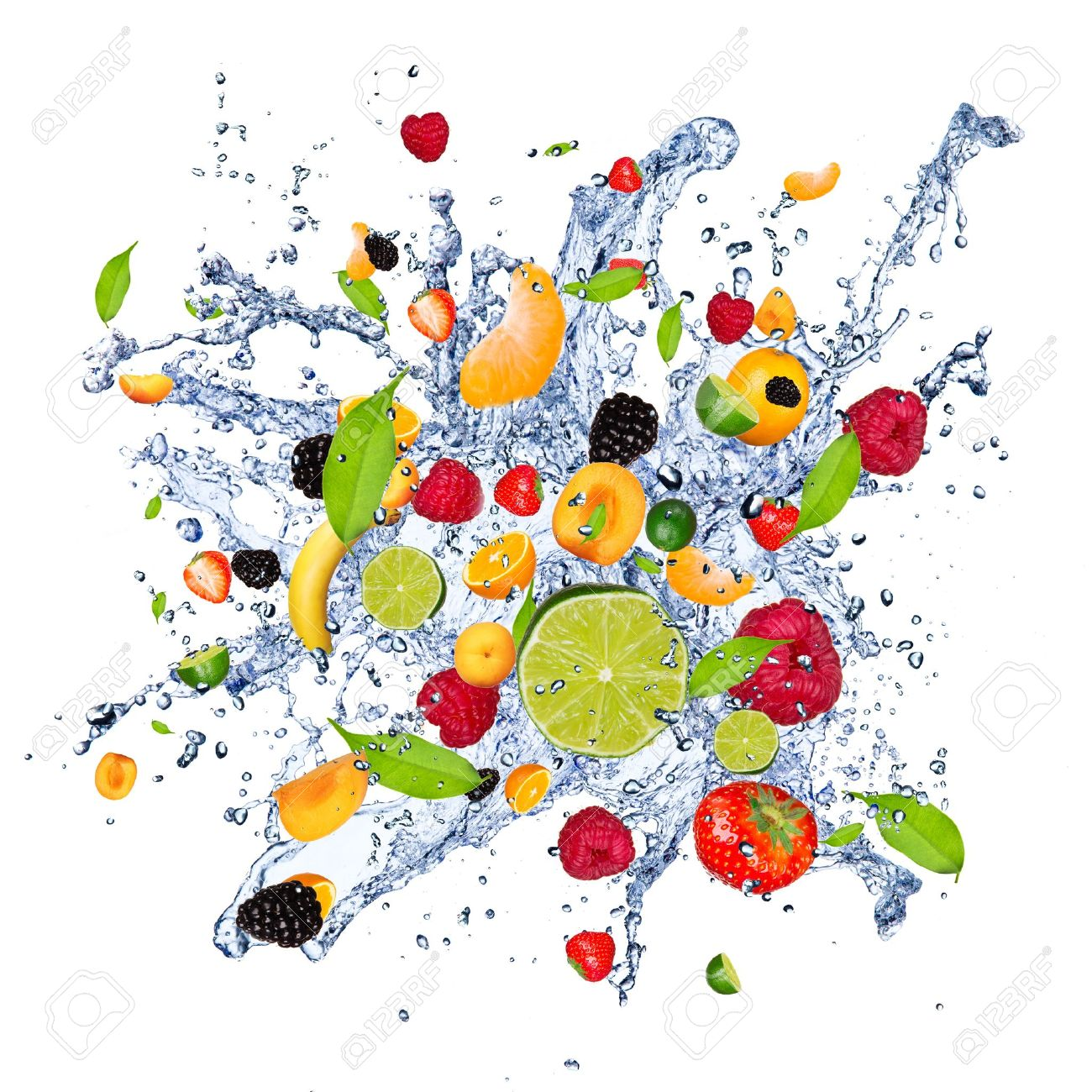 Fruit Water Splash Png - Fruit Mix In Water Splash, Isolated On White Background Stock Photo   13551982, Transparent background PNG HD thumbnail